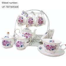 tea cup set european style bone china coffee sets peony printed ceramic coffee