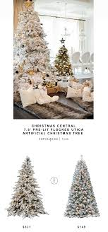central pre lit flocked artificial tree