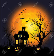 vertical halloween background house and tree background clipart
