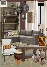 african inspired living room mask rustic living room mood board