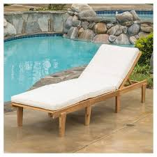 Pool Chaise Lounge Acacia Wood Patio Chaise Lounge With Cushion Teak Finish
