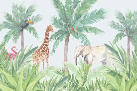 watercolor jungle nursery wall mural murals wallpaper