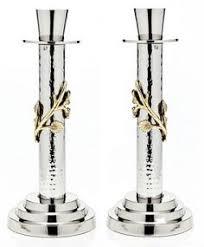 small candlesticks in painted shofar design yair emanuel shabbat