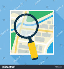 City Map Glasses Magnifying Glass Search Over Navigation Map Stock Vector 501313402