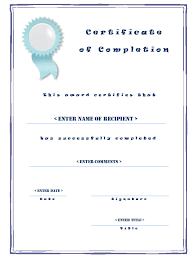 examples of certificates of completion casual certificate of completion templates with blue border