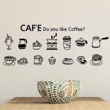 Cafe Vinyl Wall Decal Coffee Cake Cup Coffee Sign Mural Art Wall