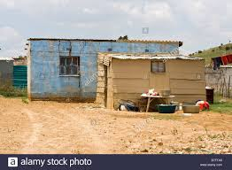 low cost housing in a squatter camp in south africa stock photo