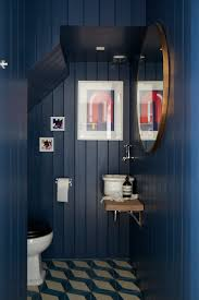 edwardian bathroom ideas blue walls cladding patterned tiles bathroom modern art
