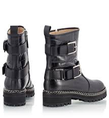 black biker booties vicini combat black croc print embossed leather chain trim lug