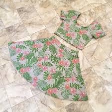 hawaiian pattern skirt h m dresses skirts nwot hm hawaiian crop topskater skirt set