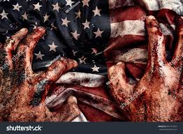Dirty American Flag Dirty Bloody Male Hands On American Stock Photo 451417324