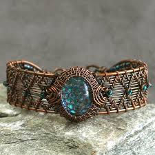 wire woven bracelet images The dream faire dragon scale glass cab and copper wire wrapped jpg