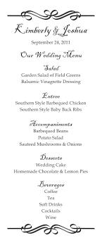 menu template wedding tea size wedding menu template 2