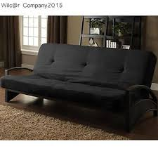 full size black metal futon couch modern sofa bed sleeper daybed