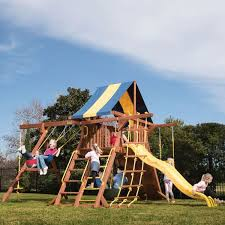 backyard playsets swing sets parrot island wooden playcenter