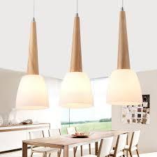 Wood Pendant Light 3 Light Glass Shade Wooden Pendant Lights For Bedroom