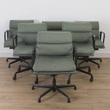 6 x set herman miller eames fabric soft pad office chair