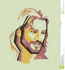 jesus christ simple line and simple colour vector portrait eps