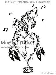 tribal howling wolf pair and weasyl