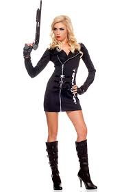 Womens Biker Halloween Costume Wear Cia Agent Halloween Costumes Costumes