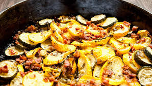 Bacon Main Dishes - summer squash and bacon bits paleo leap