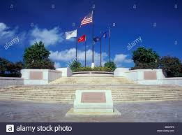American Battle Flag Court Of Honor And Flag Circle At American Memorial Park Stock