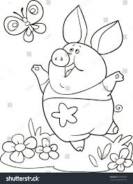 coloring page outline cartoon cute pig stock vector 629995637