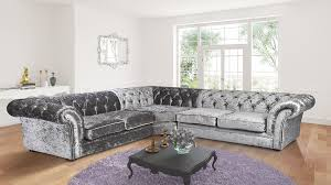 Chesterfield Sofa In Fabric by Nelson Chesterfield Corner 2c3 Crushed Velvet Sofa Silver