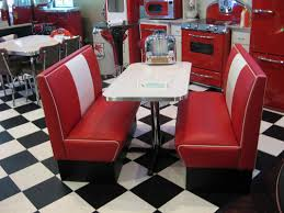 black and red dining room decoration using red leather retro