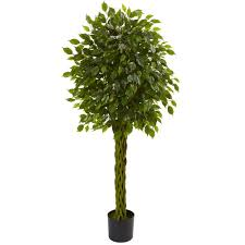 artificial tree nearly 5 ft uv resistant indoor outdoor ficus artificial