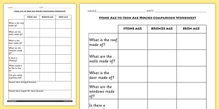 age to iron age houses comparison worksheet history