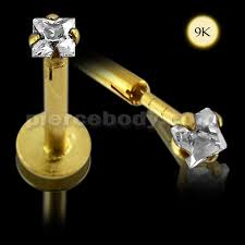 piercing aur labret lip 9k aur interne cu piața jeweled top piercing bijuterii