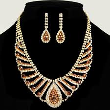 gold set for marriage gold tone topaz rhinestone wedding bridal necklaces and earring