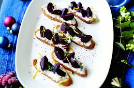 goats cheese canape recipes beetroot and goats cheese crostini recipe goodtoknow