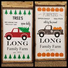 personalized pumpkin christmas tree farm truck art reversable