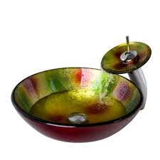 decorative multi color enamlleing tempered glass vessel sink with