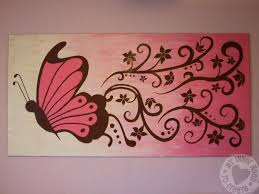 brown and pink butterfly and flower mural fit for a