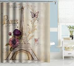 Themed Fabric Shower Curtains Uphome Vintage Themed Bluish Brown Eiffel Tower Bathroom