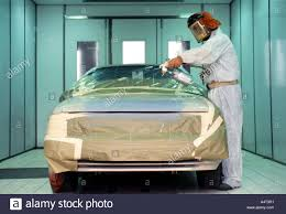 automobile spray paint booth at body shop stock photo royalty