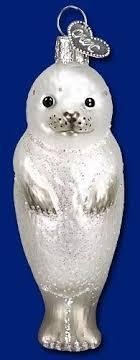 world seal pup glass blown ornament