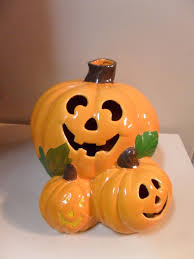 vintage ceramic halloween pumpkin light halloween decor