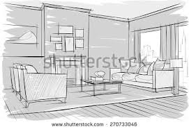 sketch interior beautiful room stock vector 270733046 shutterstock