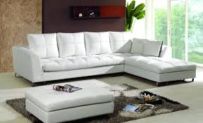 ivory full thick leather modern sectional sofa w curved legs