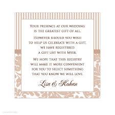 wedding gift registry message alannah wedding invitations stationery shop online