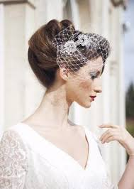 wedding hair using nets gold bridal veil and bridal comb bandeau birdcage by gildedshadows