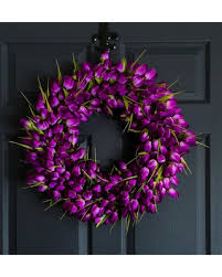 tulip wreath deal alert captivating purple tulip wreath wreaths front