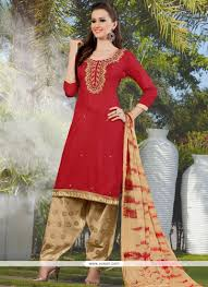 best cotton buy best lace work cotton red punjabi suit punjabi patiala suits