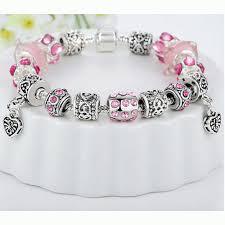 silver european bracelet images Womens european silver charm bracelet pink gif