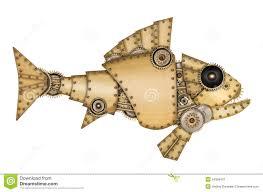 steampunk style industrial mechanical fish stock illustration