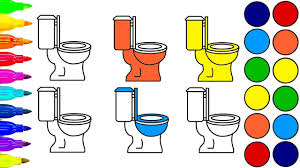 learn colors drawing and coloring funny toilets toilet paper for